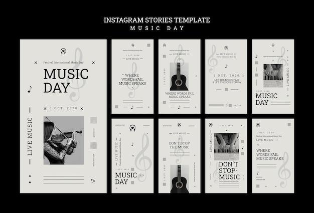 Modèle d'histoires instagram de jour de musique