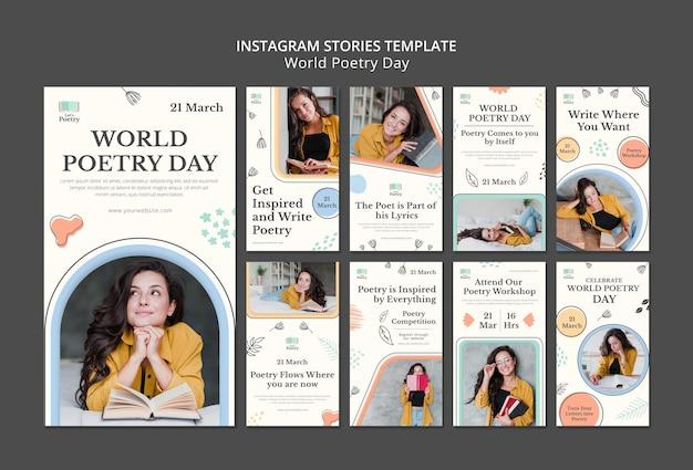 Modèle d'histoires instagram de jour de poésie avec photo