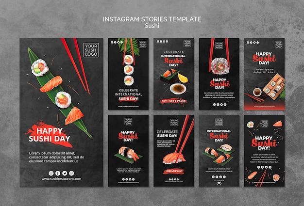 Modèle d'histoires instagram avec jour de sushi