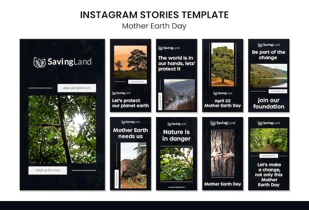 Modèle d'histoires instagram de jour de la terre mère
