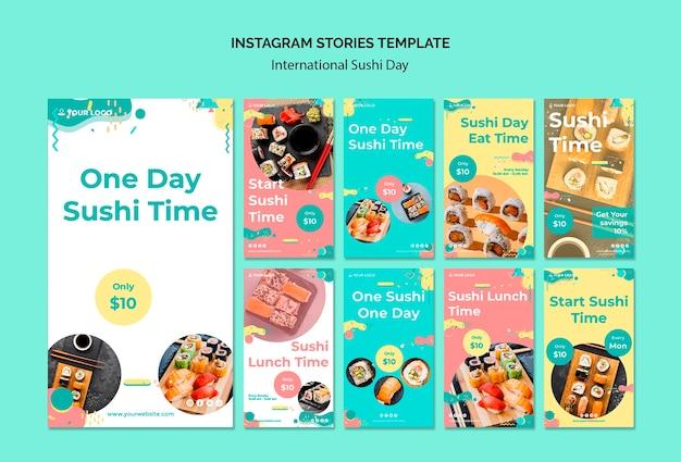 Modèle d'histoires instagram de la journée internationale du sushi