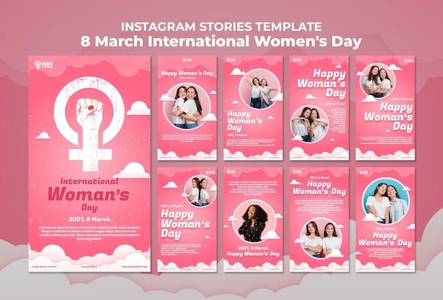 Modèle d'histoires instagram de la journée internationale de la femme