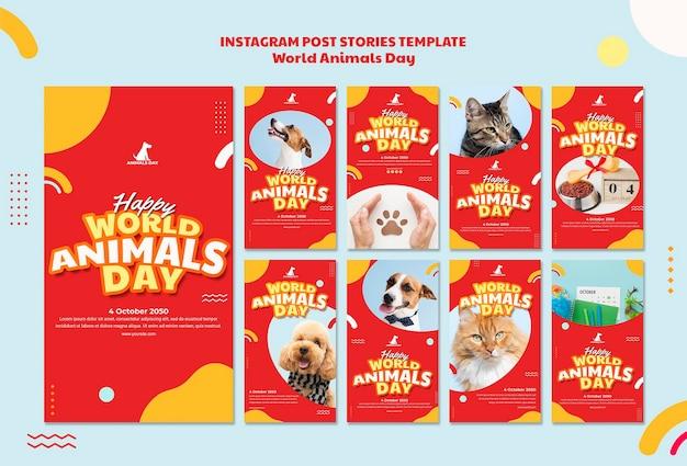 Modèle d'histoires instagram de la journée mondiale des animaux