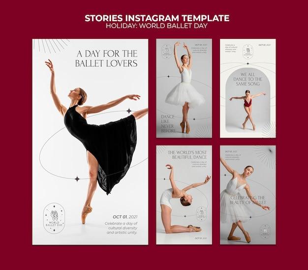 Modèle d'histoires instagram de la journée mondiale du ballet