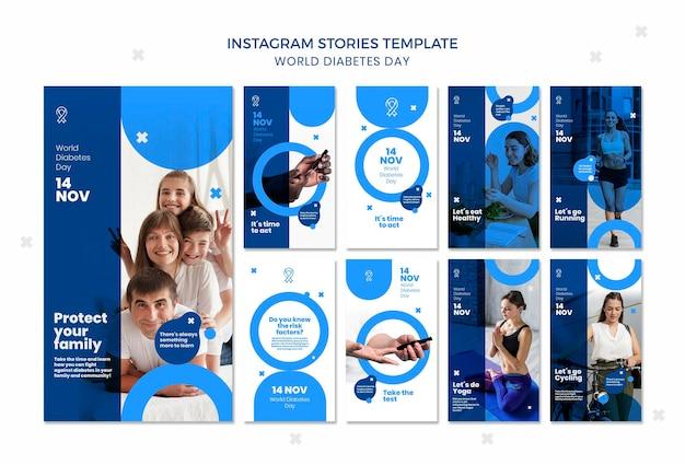 Modèle d'histoires instagram de la journée mondiale du diabète