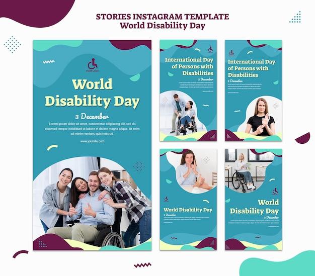 Modèle d'histoires instagram de la journée mondiale du handicap