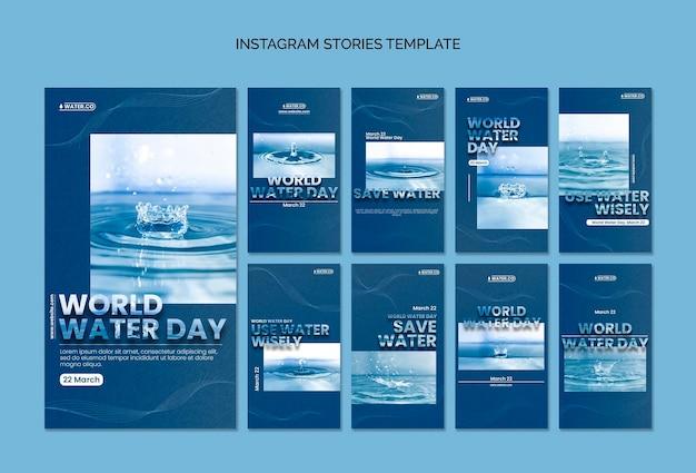 Modèle d'histoires instagram de la journée mondiale de l'eau avec photo