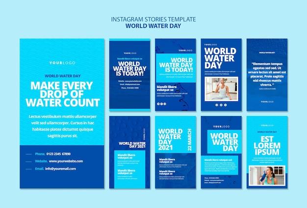 Modèle d'histoires instagram de la journée mondiale de l'eau