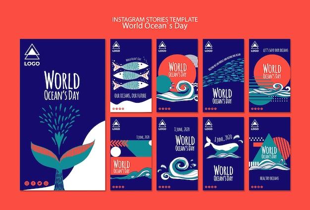 Modèle d'histoires instagram de la journée mondiale de l'océan