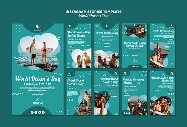 Modèle d'histoires instagram avec la journée mondiale des océans