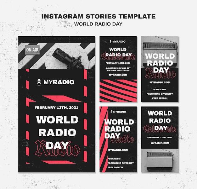 Modèle d'histoires instagram de la journée mondiale de la radio