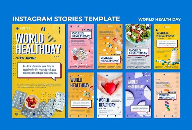 Modèle d'histoires instagram de la journée mondiale de la santé