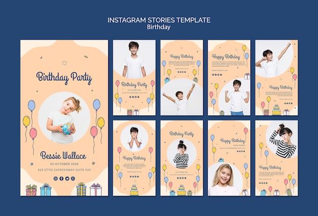 Modèle d'histoires instagram joyeux anniversaire avec photo