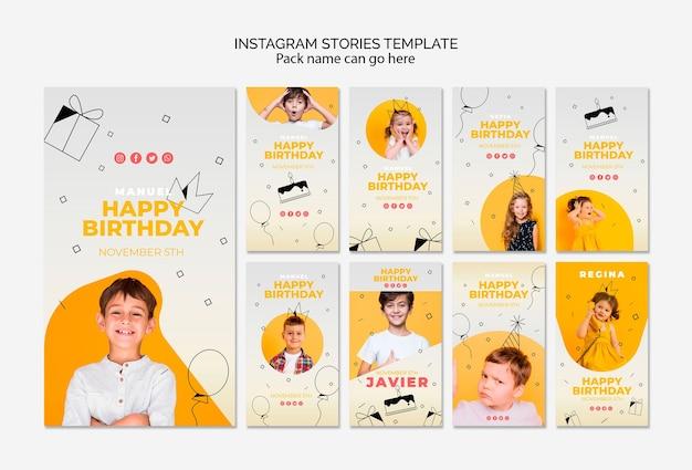 Modèle d'histoires instagram avec joyeux anniversaire