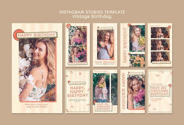 Modèle d'histoires instagram joyeux anniversaire