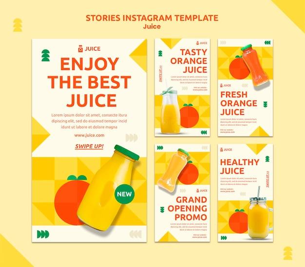 Modèle d'histoires instagram de jus
