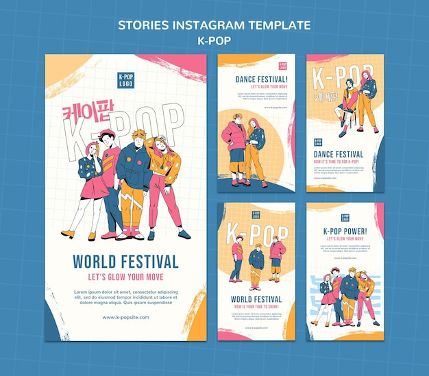 Modèle d'histoires instagram k-pop