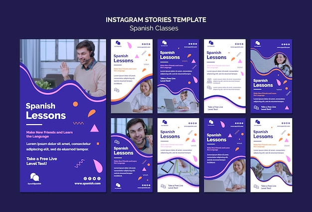 Modèle d'histoires instagram de leçons d'espagnol