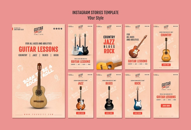 Modèle d'histoires instagram de leçons de guitare