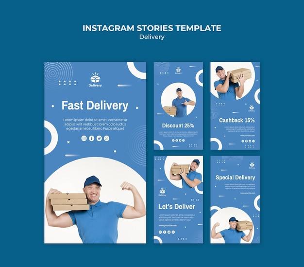 Modèle d'histoires instagram de livraison