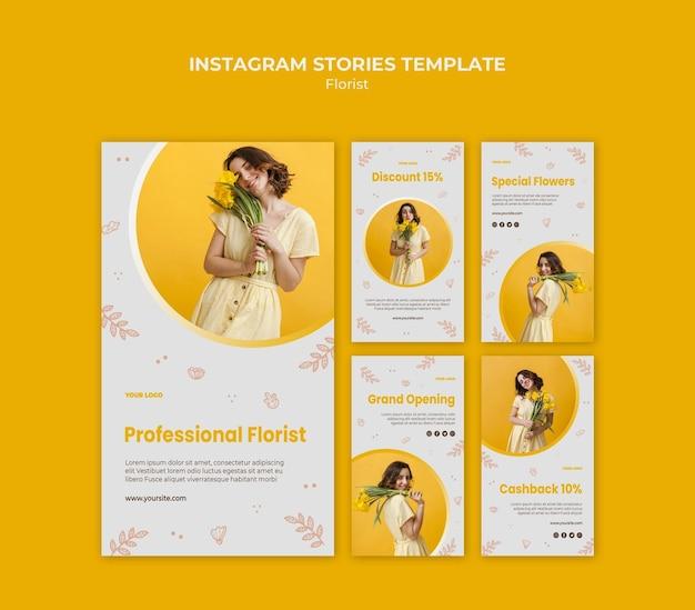 Modèle d'histoires instagram de magasin de fleuriste