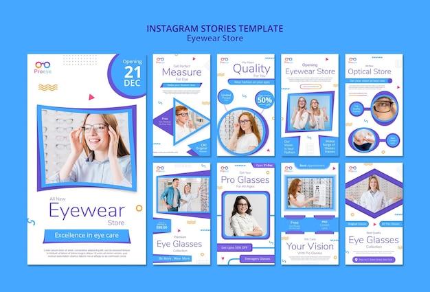 Modèle d'histoires instagram de magasin de lunettes