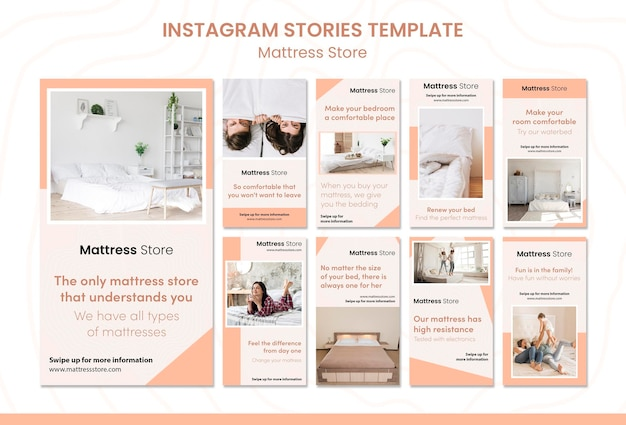 Modèle d'histoires instagram de magasin de matelas