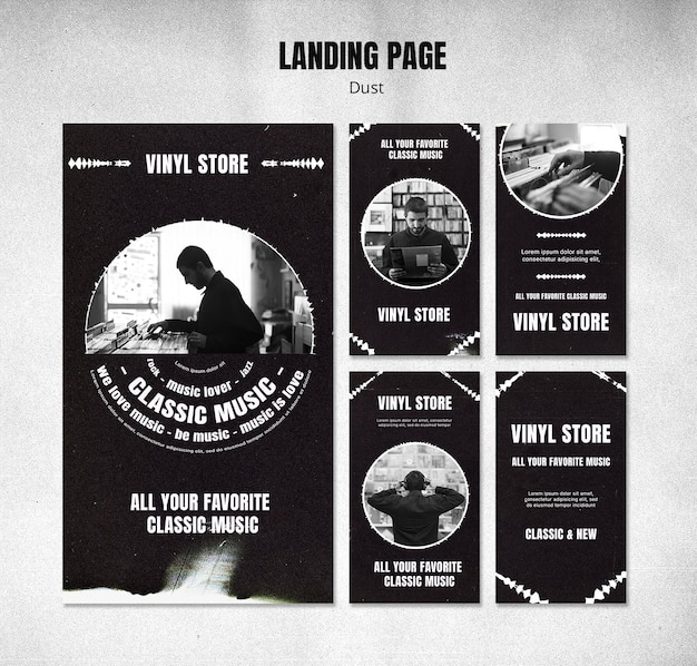 Modèle d'histoires instagram de magasin de vinyle