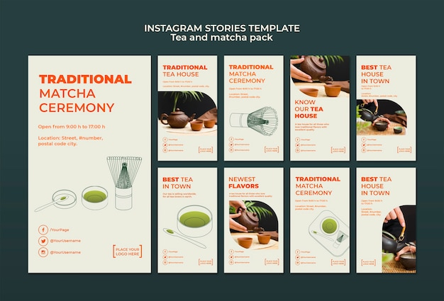 Modèle d'histoires instagram de maison de thé