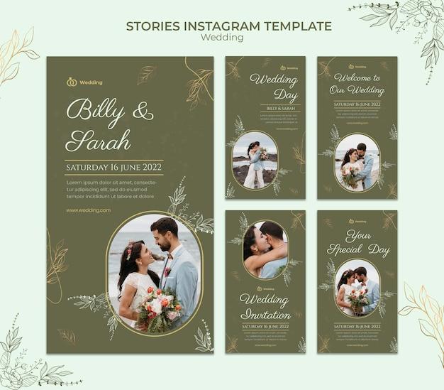 Modèle d'histoires instagram de mariage avec photo