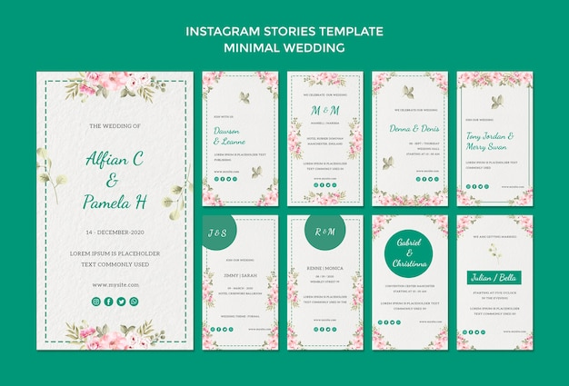 Modèle d'histoires instagram avec mariage