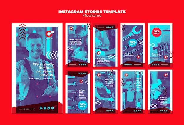 Modèle d'histoires instagram mécanicien