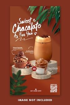 Modèle d'histoires instagram de médias sociaux de menu de boisson au chocolat pour la promotion de restaurant