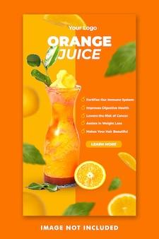 Modèle d'histoires instagram de médias sociaux de menu de boisson de jus d'orange pour la promotion de restaurant