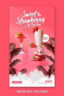 Modèle d'histoires instagram de médias sociaux de menu de boisson pour la promotion de restaurant