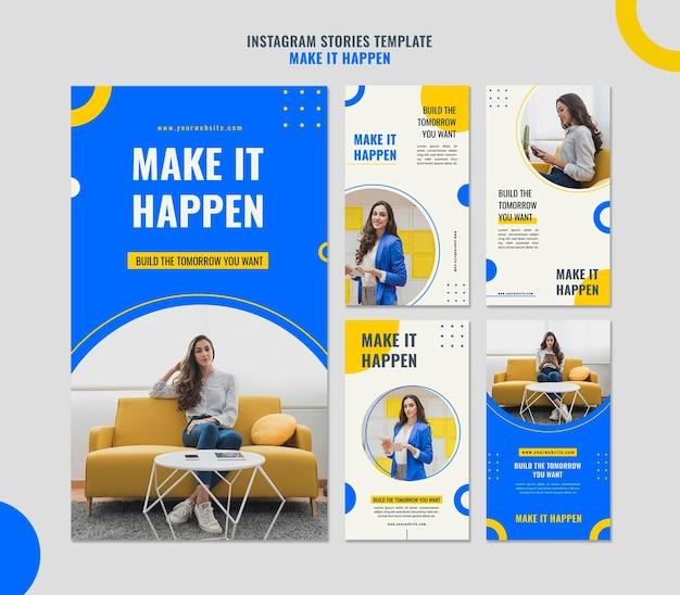 Modèle d'histoires instagram memphis business ad