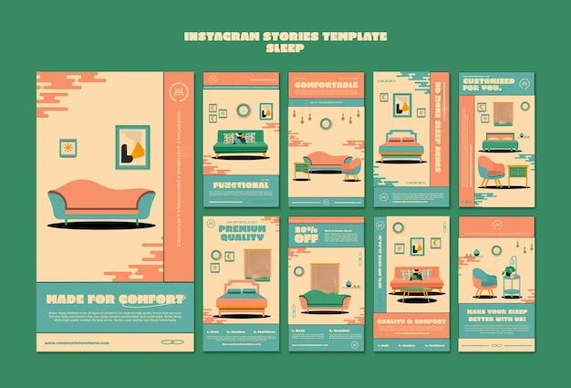 Modèle d'histoires instagram de meubles de couchage