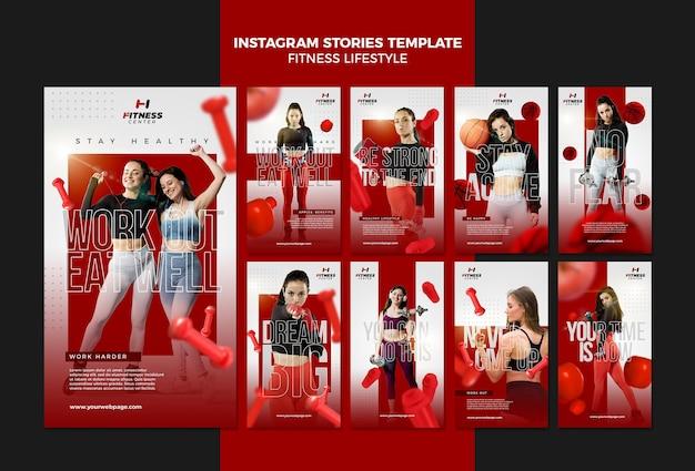Modèle d'histoires instagram de mode de vie de remise en forme