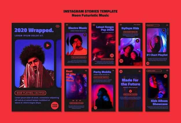 Modèle d'histoires instagram de musique futuriste au néon