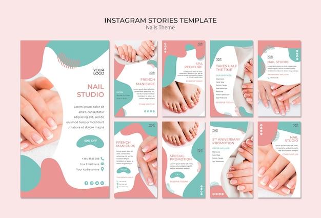 Modèle d'histoires instagram nail studio