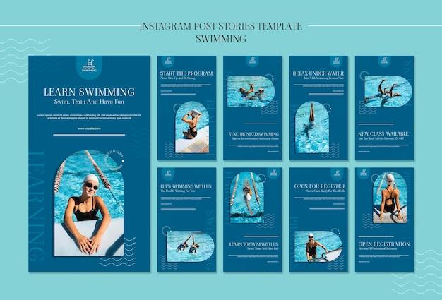 Modèle d'histoires instagram de natation avec photo