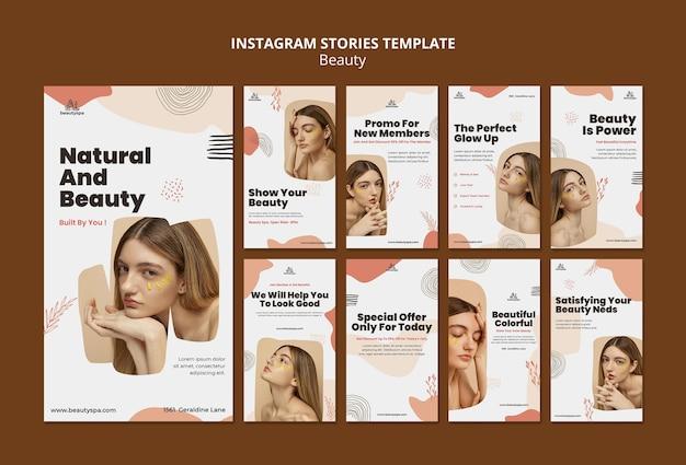 Modèle d'histoires instagram naturelles et beauté