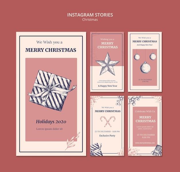 Modèle d'histoires instagram de noël dessiné à la main