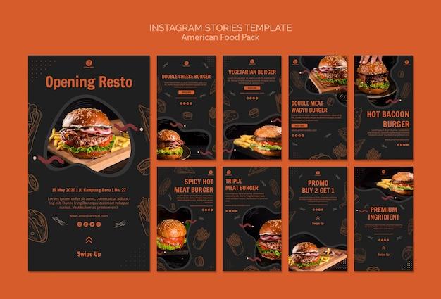 Modèle d'histoires instagram avec de la nourriture américaine