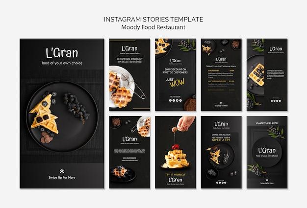 Modèle d'histoires instagram de nourriture moody
