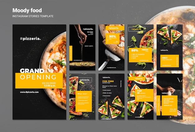 Modèle d'histoires instagram de nourriture de restaurant moody