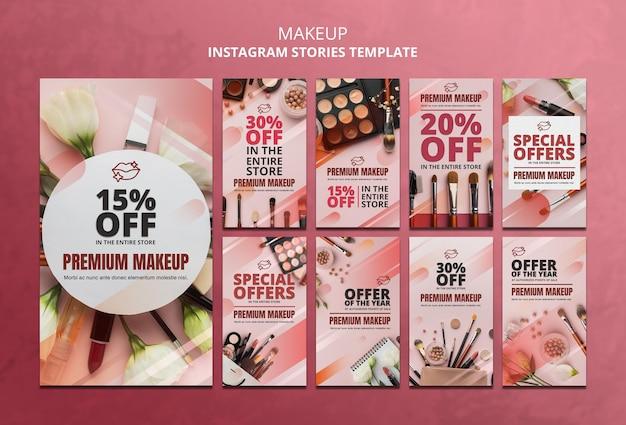 Modèle d'histoires instagram offre de maquillage