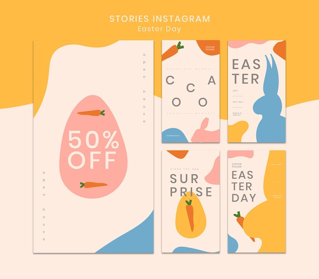 Modèle d'histoires instagram de pâques