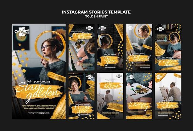 Modèle d'histoires instagram de peinture dorée