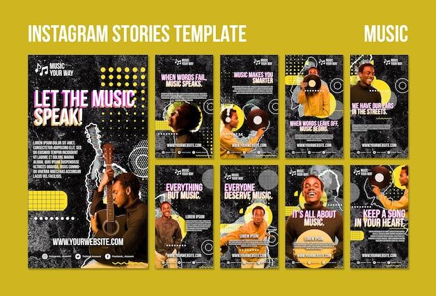 Modèle d'histoires instagram de performance musicale